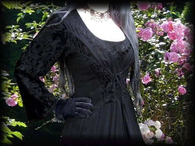 Mittelalter gothic kleid raven queen xxl gewand schwarz 44 46 gothic