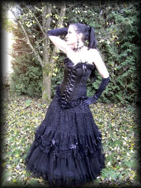 Gothic Brautkleid Lady DeWinter schwarz Spitze Rüschen Viktorianisch ...