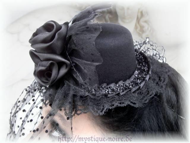 mini hut facinator r schen schleier rose federn burlesque gothic steampunk black. Black Bedroom Furniture Sets. Home Design Ideas