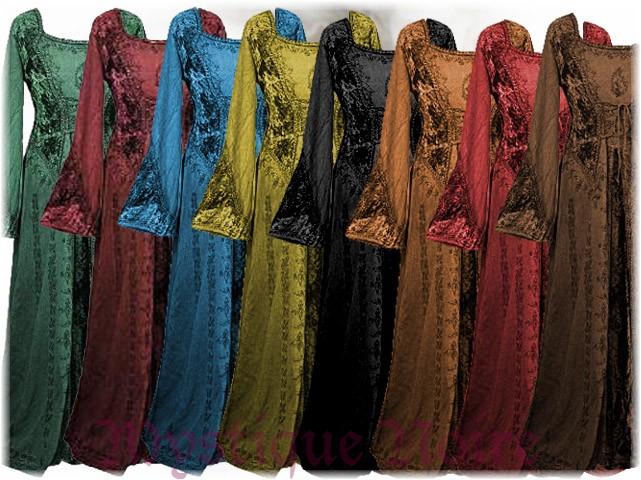 Vintage Kleid Gyselle  bestickt Samt Schnürung Mittelalter Goa Ibiza 36 38 40 42