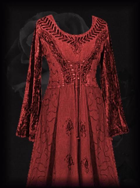 Mittelalter Mieder Kleid Samt Stickerei Schnürung rot Gothic Larp 38 40 Nepal